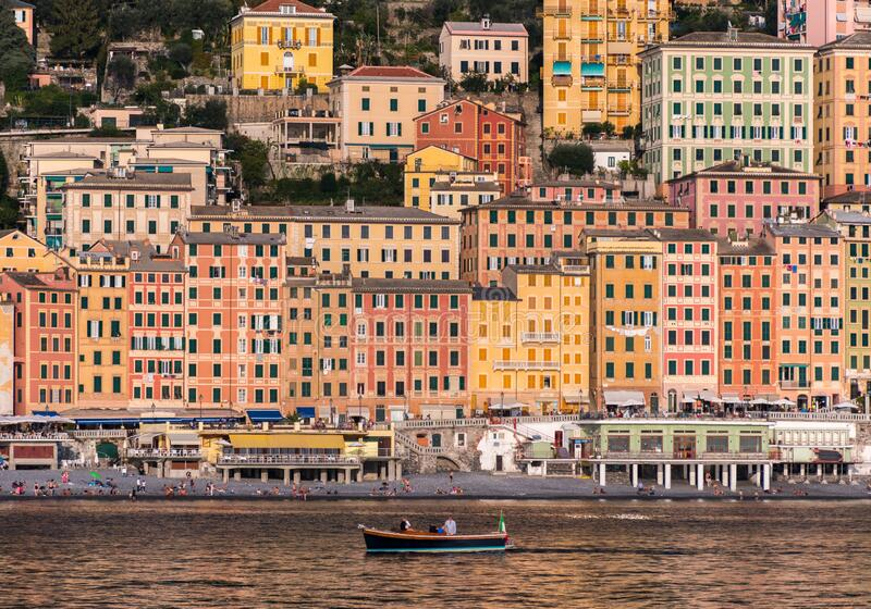The colored houses of Camogli, small town near Genoa in northern Italy, seen from the sea stock images
