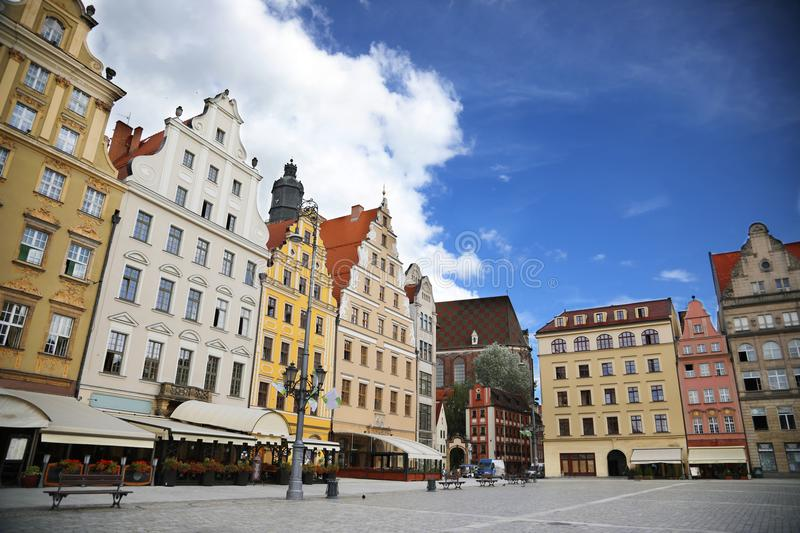 Colored houses on the central square of Wroclaw. Poland stock images