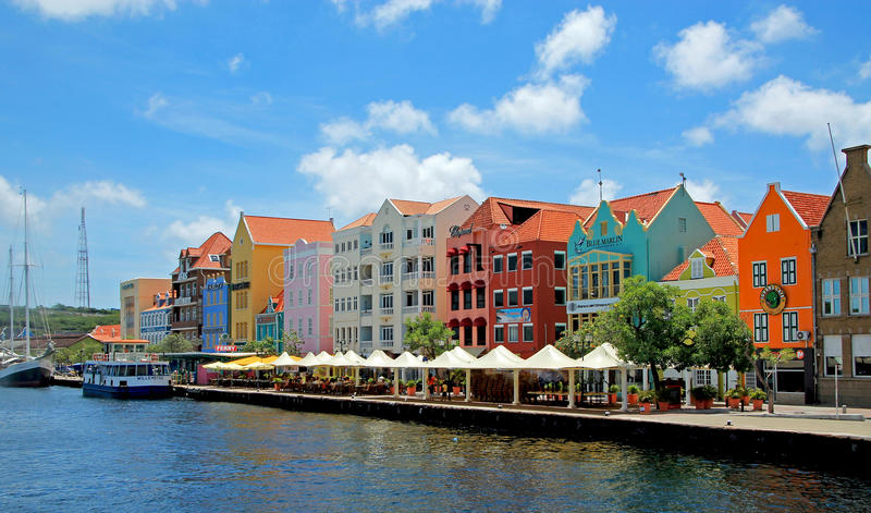 Colored houses of Curacao, Dutch Antilles royalty free stock photo