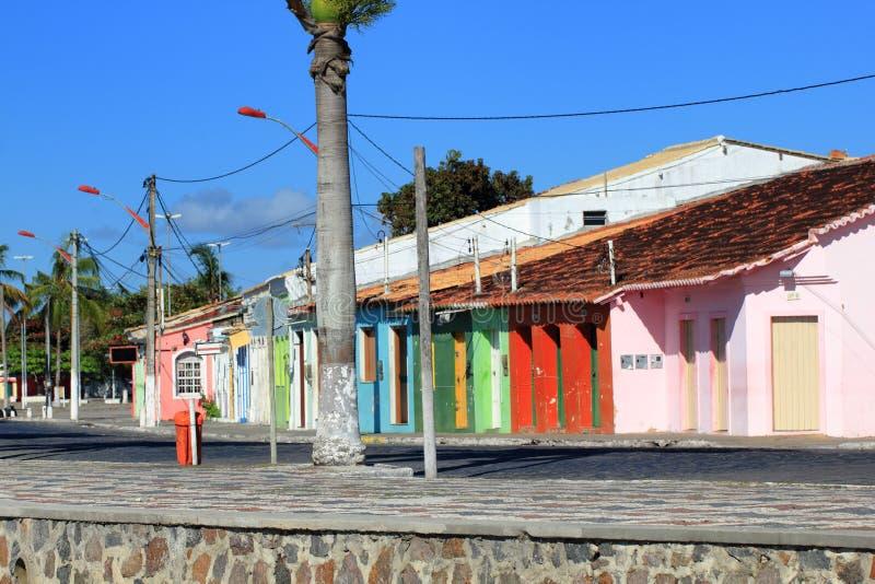 Colored houses in Porto Seguro royalty free stock photo