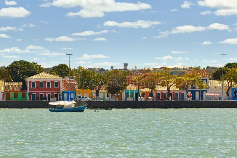 Colored houses at Porto Seguro coast stock image