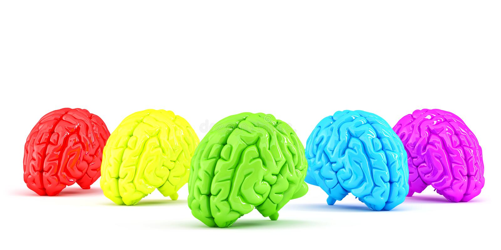 Colored human brains. Creative concept. Isolated. Contains clipping path royalty free illustration