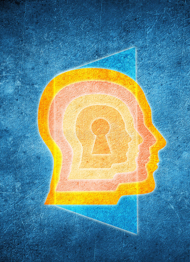 Colored human head with keyhole and door royalty free illustration