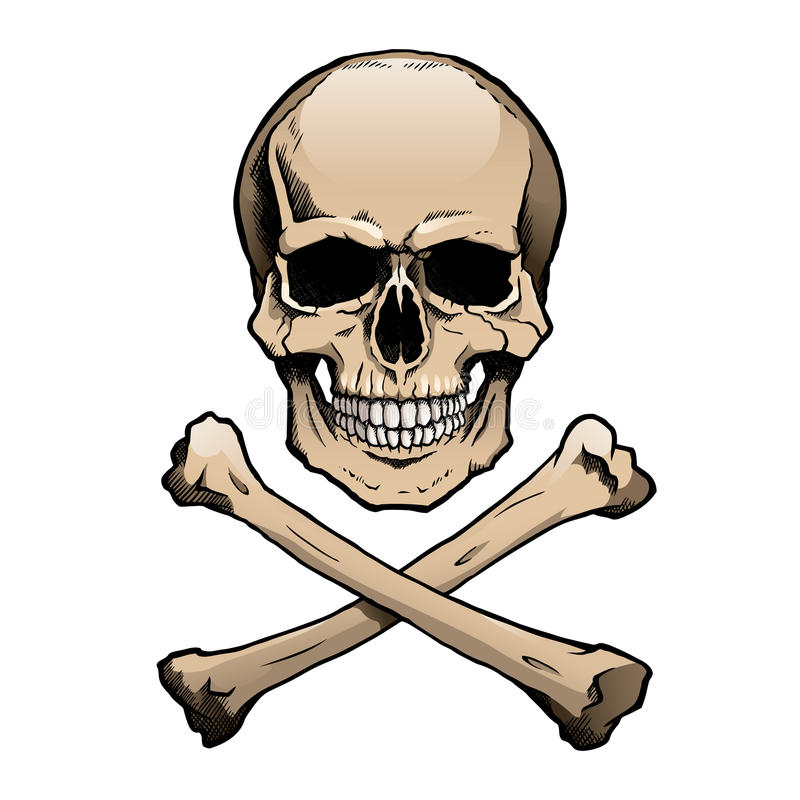 Colored Human Skull And Crossbones Stock Image