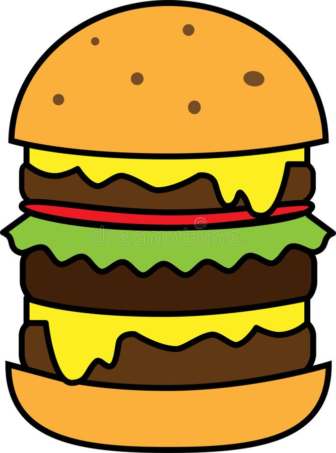 Colored icon big burger with salad and cheese and cutlet vector illustration
