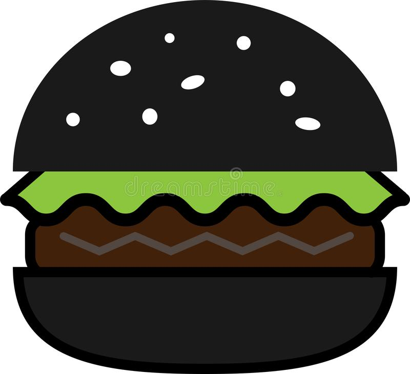 Colored icon of black burger with lettuce and cutlet stock illustration