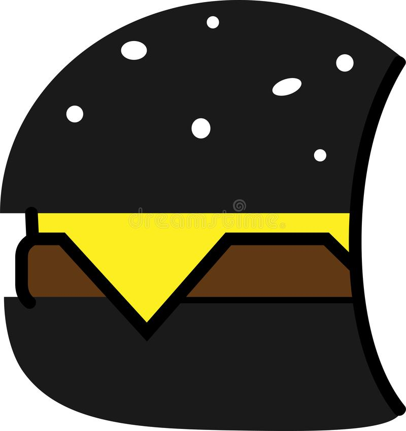 Colored icon of black hamburger with cheese and cutlet vector illustration