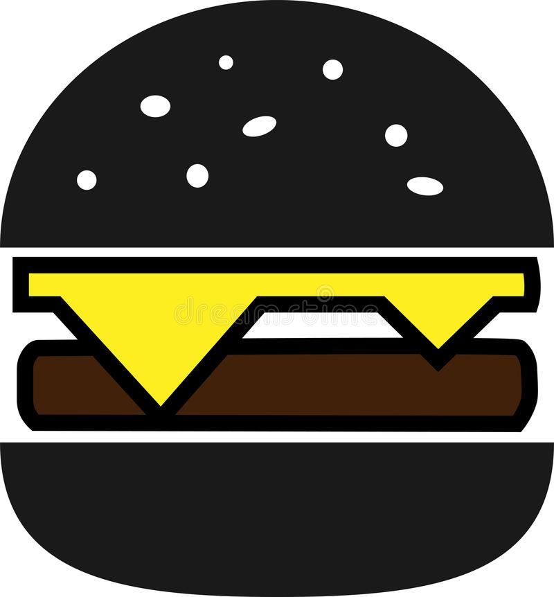 Colored icon black split hamburger with cheese and chop stock illustration