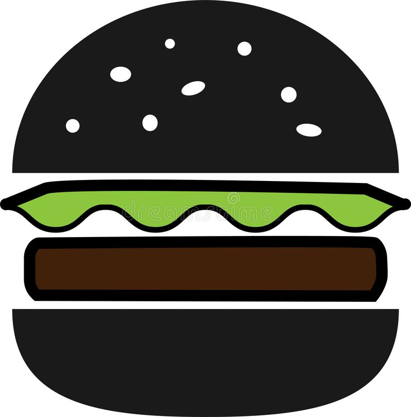 Colored icon black split hamburger with lettuce and chop stock illustration