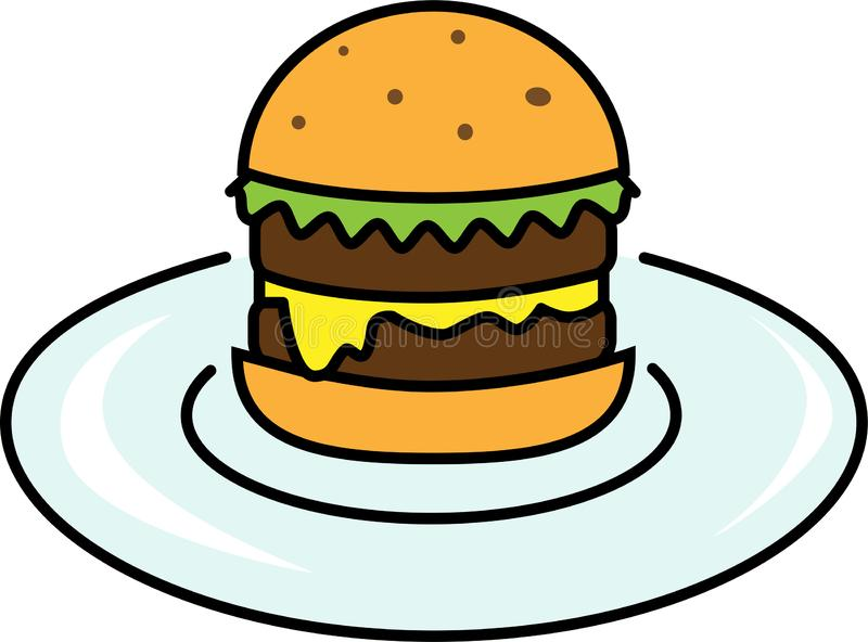 Colored icon of burger with salad with cheese and cutlet on a plate royalty free illustration
