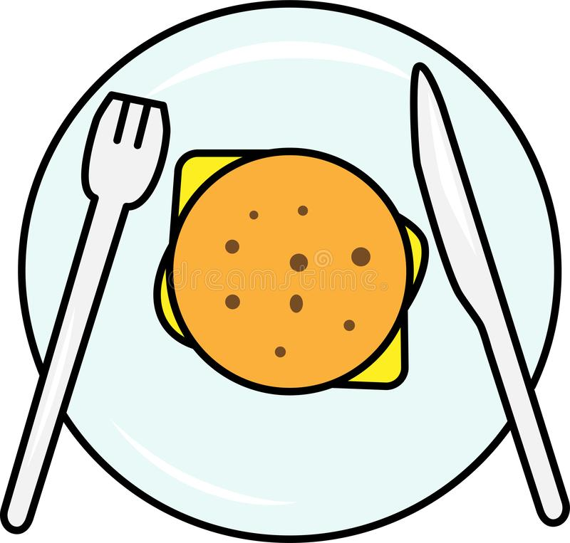 Colored icon burger with salad and cheese and cutlet top view vector illustration
