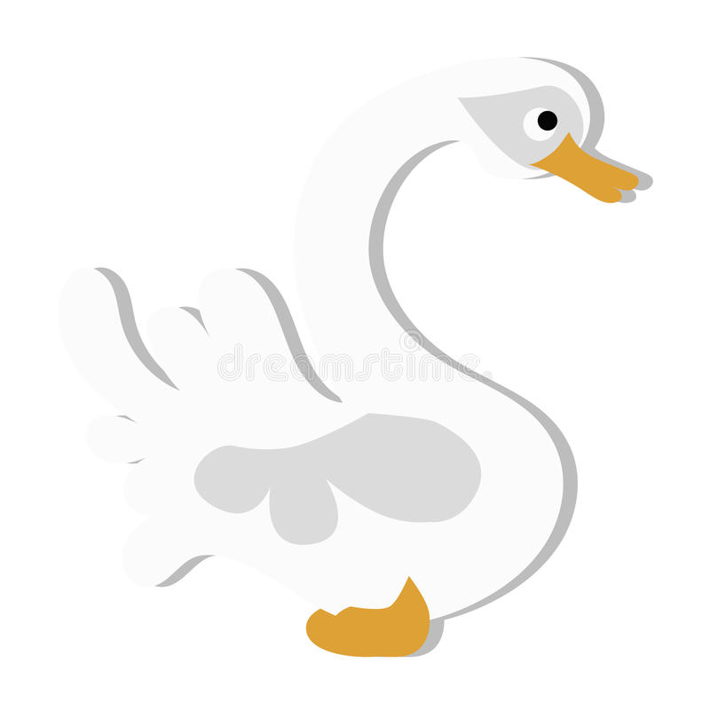 Colored icon cute baby white Swan in cartoon style vector illustration