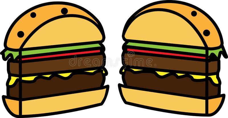 Colored icon of a hamburger cut in half with salad with cheese and cutlet royalty free illustration