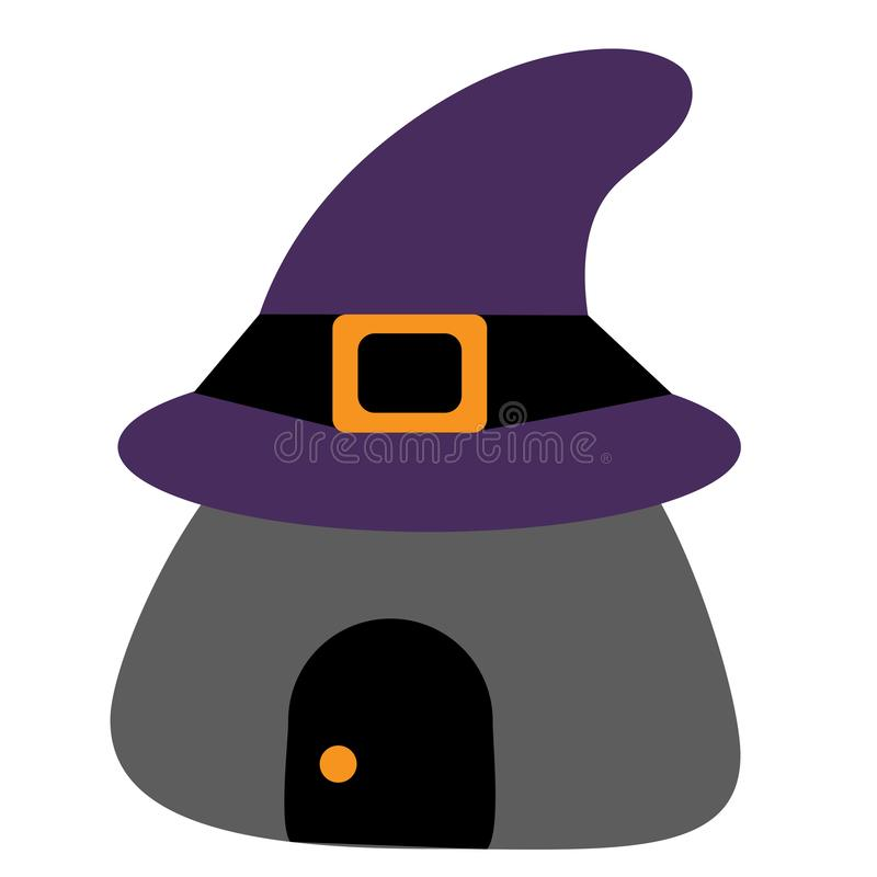 Colored icon house in the witch`s hat. pattern for Halloween. ve royalty free stock images