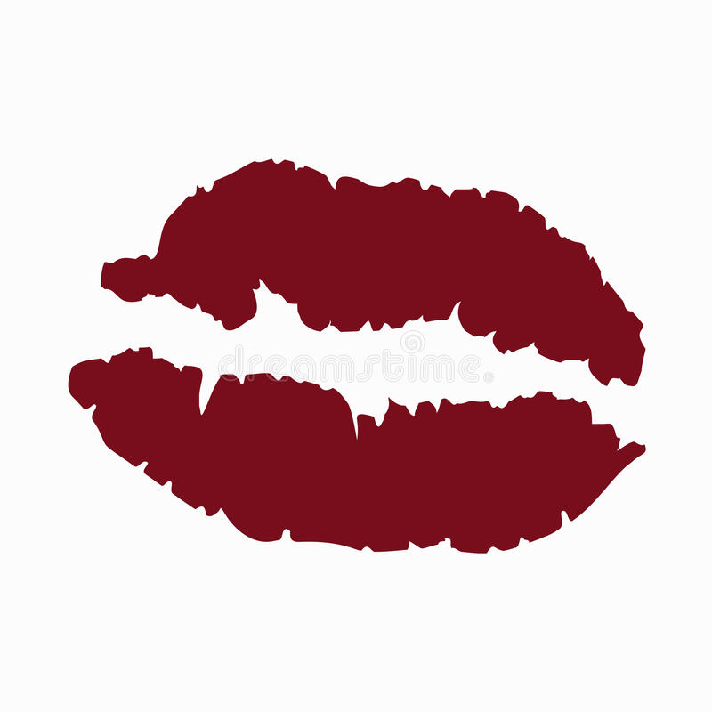 Colored icon kiss mark red lipstick female lips on white royalty free illustration