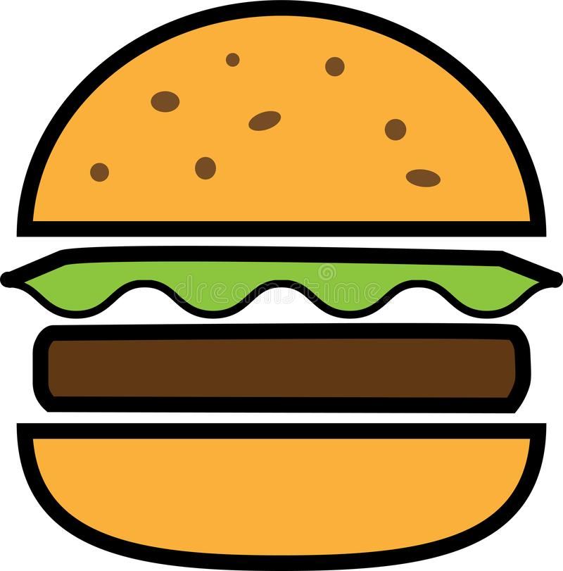 Colored icon split hamburger with lettuce and chop vector illustration