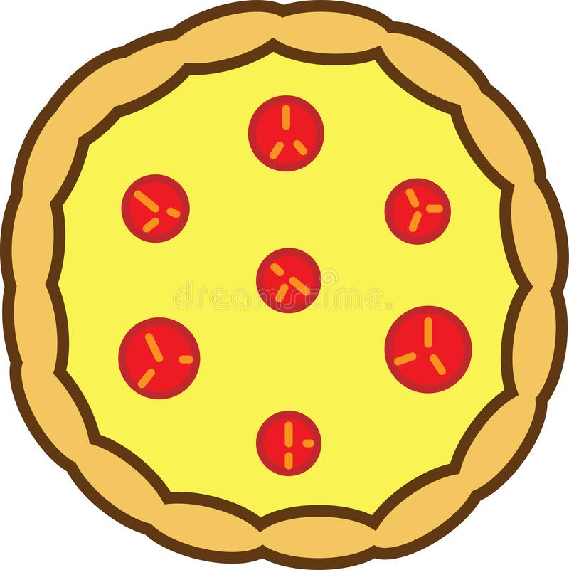 Colored icon of whole pizza with tomatoes and cheese royalty free illustration