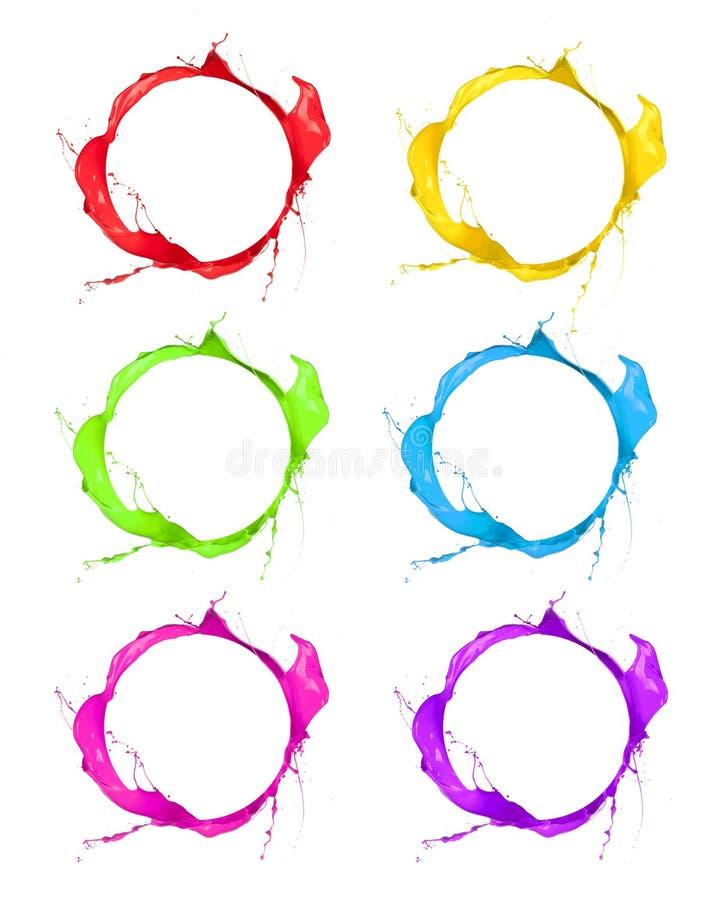 Colored icons. Set of splashes paints shots, isolated on white background royalty free stock photos