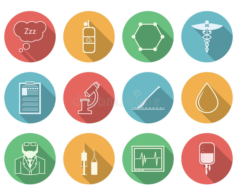Colored icons for anesthesiology. Set of colored circle icons with black silhouette symbols for anesthesiology on white background royalty free illustration