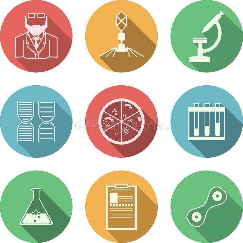 Colored icons for bacteriology. Set of colored circle icons with black silhouette symbols for bacteriology on white background stock illustration