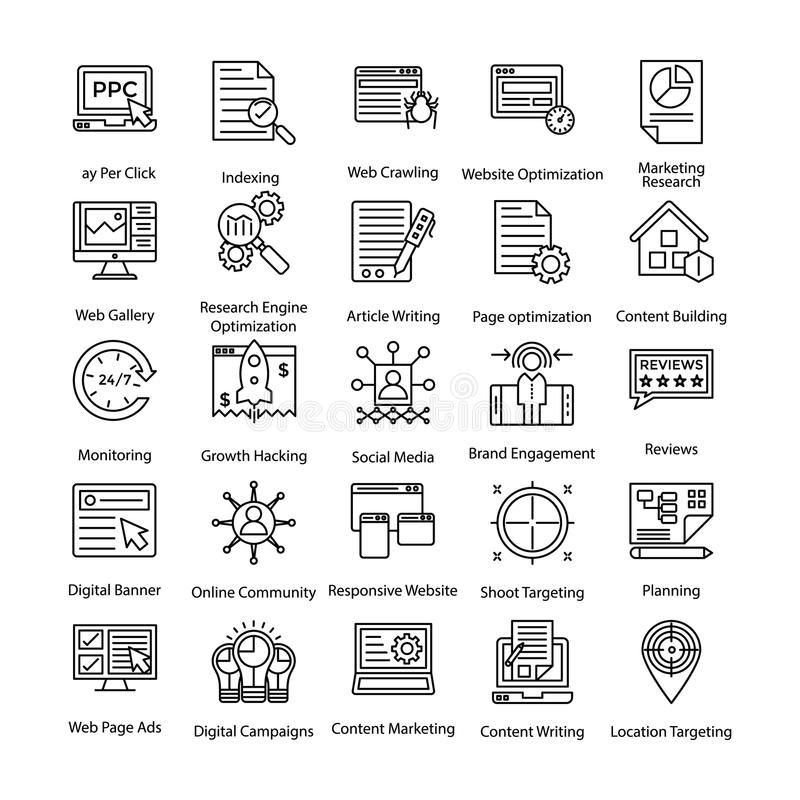 Colored Icons Set of Internet and Digital Marketing vector illustration