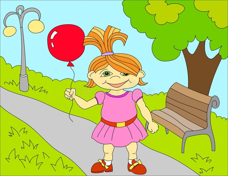 Colored illustration background of a happy little girl vector illustration