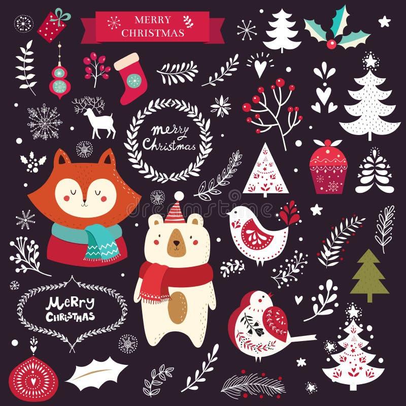 Decorative elements, trees and animals stock illustration