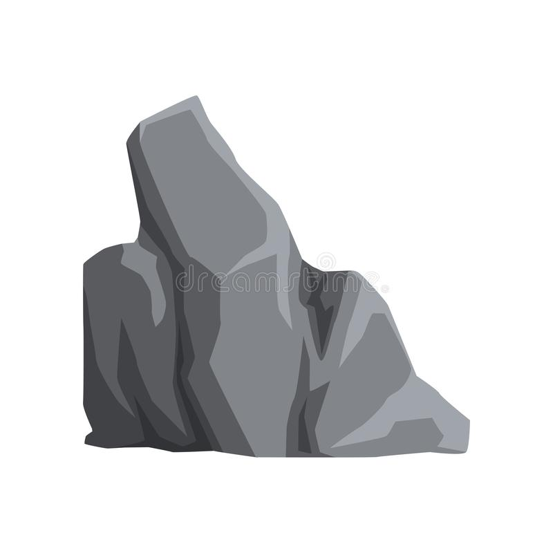Large mountain stone. Gray rock with lights and shadows. Solid mineral material. Cartoon vector element for landscape. Colored illustration of large mountain vector illustration