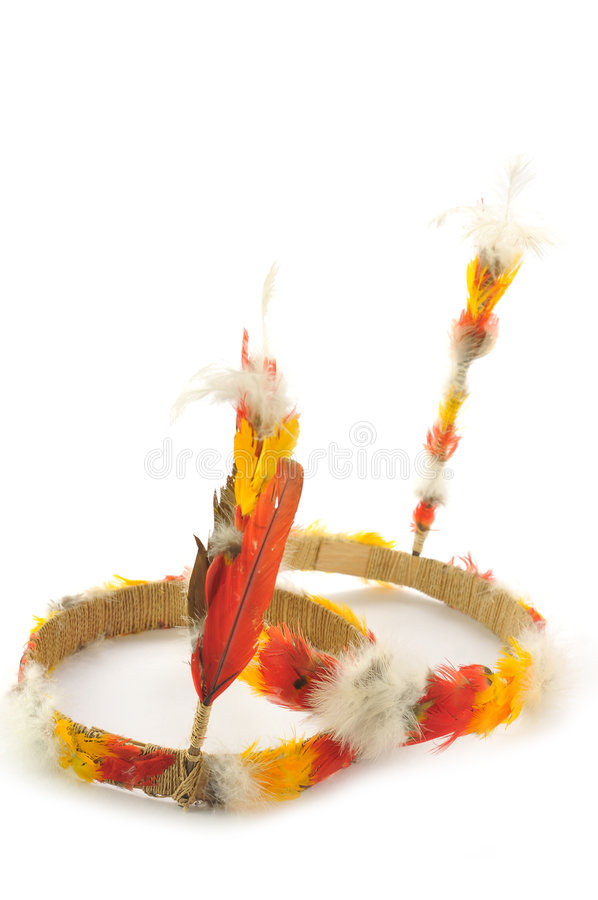 Colored Indian head feathers stock images