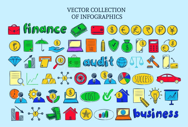 Colored Infographic Financial Elements Collection. Of business audit management icons in sketch style isolated vector illustration royalty free illustration