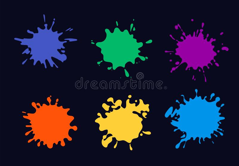 Colored ink splash. paint splashing and drop stock illustration