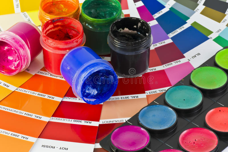 Colored inks stock photos