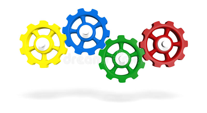 Colored interlocking gears royalty free illustration
