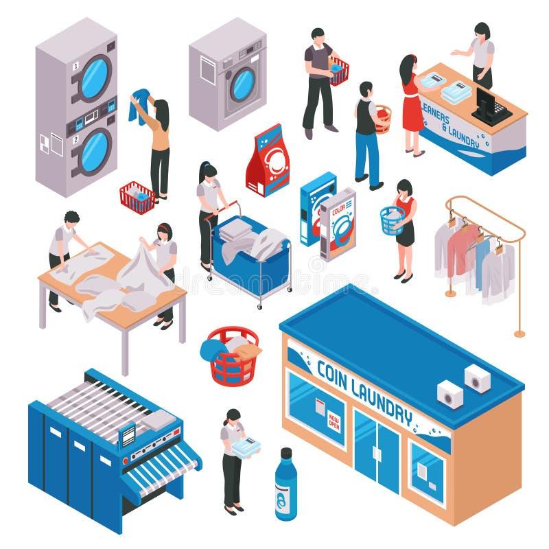 Isometric Laundry Icon Set stock illustration