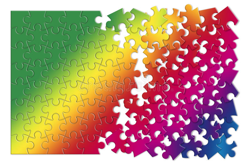 Colored jigsaw puzzle - concept image on white background vector illustration