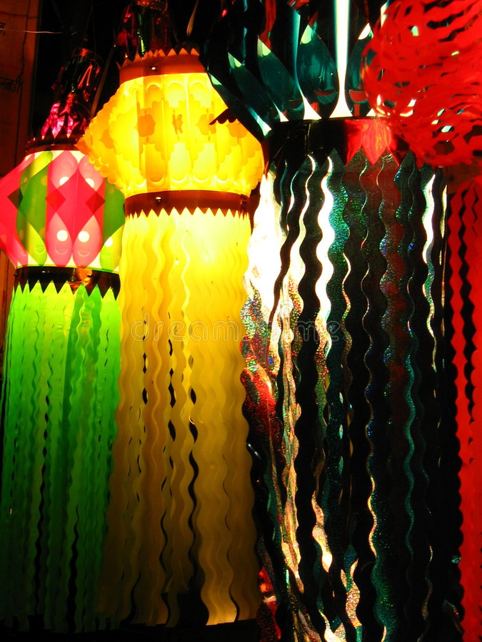 Colored Lanterns. Beautiful Skylaterns are lit up in Diwali festival of India stock image