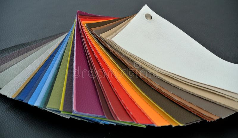 Colored leather sample stock photography