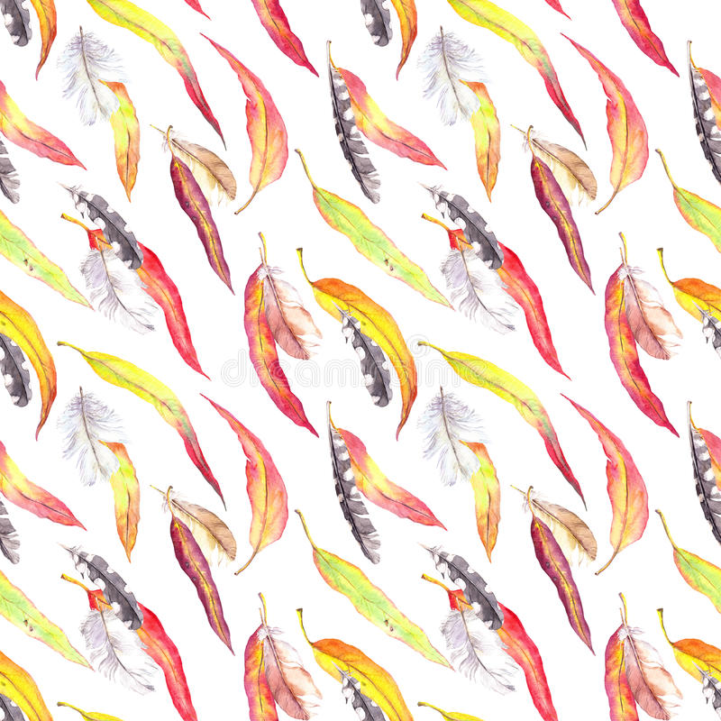 Colored leaves, feathers. Seamless autumn pattern. Watercolor - vintage style stock illustration