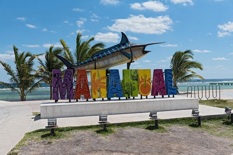Colored lettering of tourist resort with marlin fish in Mahahual, Mexico stock photography