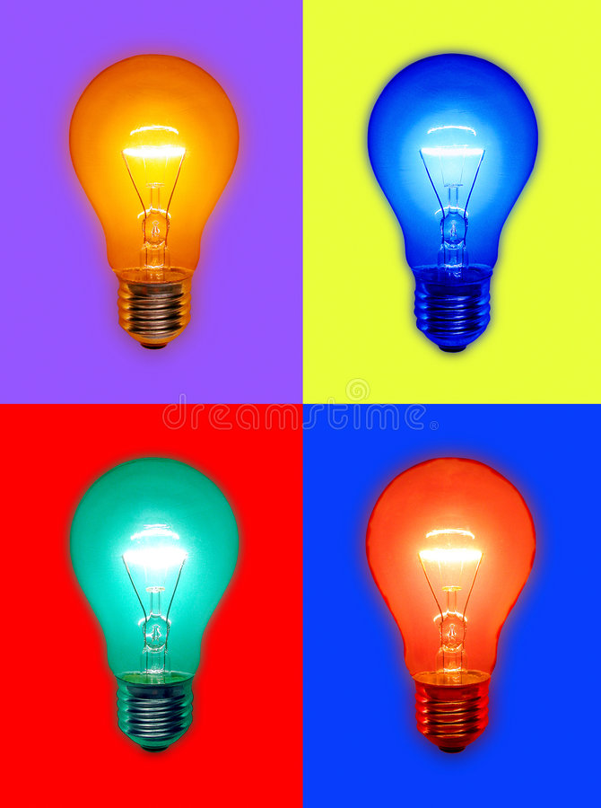 Colored Light Bulbs stock photo
