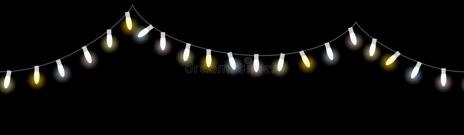Colored light bulbs string. Vector illustration of seamless light bulbs string with different colors isolated on black background stock illustration