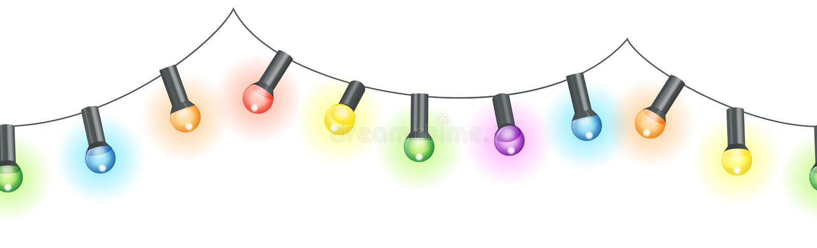 Colored light bulbs string. Vector illustration of seamless light bulbs string with different colors isolated on white background vector illustration