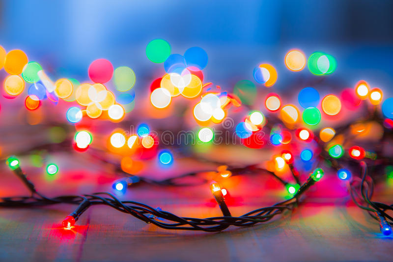 Colored lights Christmas garlands. Colorful abstract background.  stock images