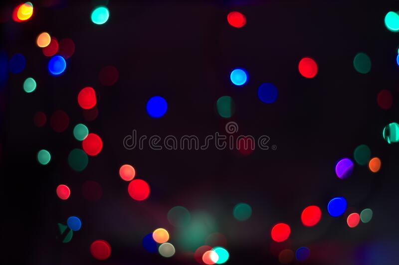 Colored lights form a blurry boké. Random lights of various colors in a blurry bok stock photography