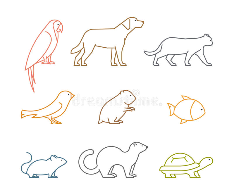 Colored line group of pets. Silhouettes animals stock illustration