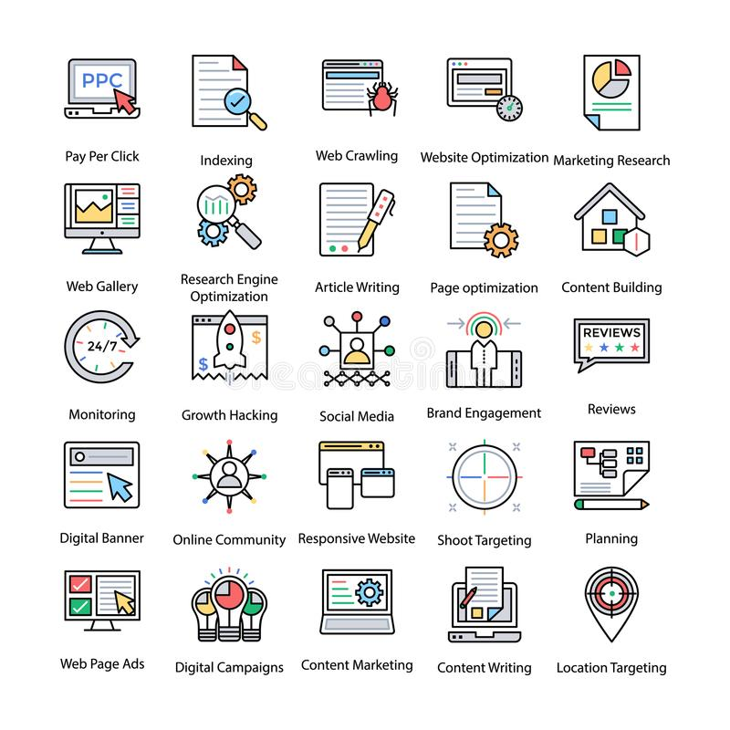 Colored Icons Set of Internet and Digital Marketing stock illustration