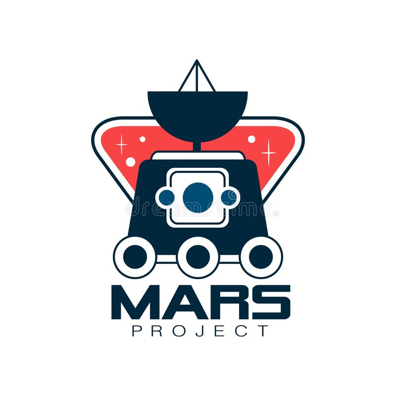 Colored logo with Mars exploration rover. Astronomy science project, journey into space. Emblem in line style. Flat stock illustration