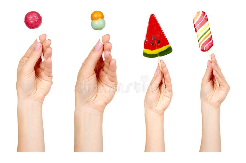 Colored lollipops, caramel candies, set and collection stock photography