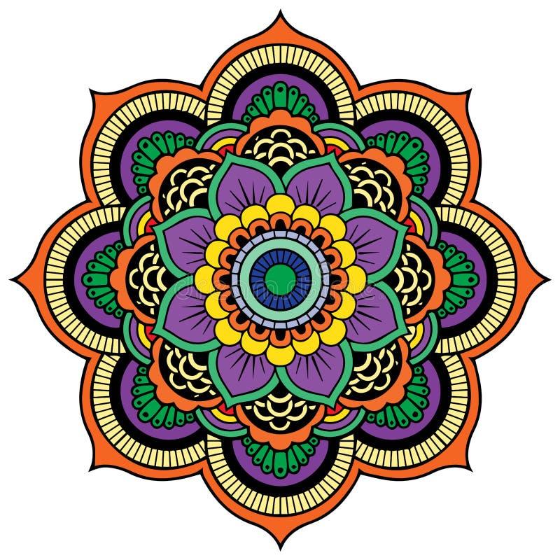 Colored mandala on the white background. Vector stock illustration