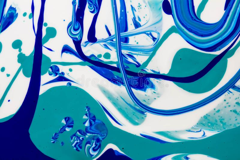 Blue and white color marble mixed ink abstraction. Colored marble mixed ink abstraction. Free style and handmade background stock illustration